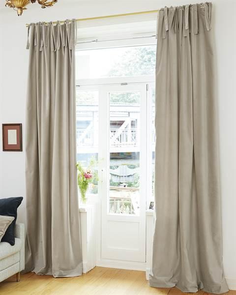 Vorhang, beige, grau, Baumwolle