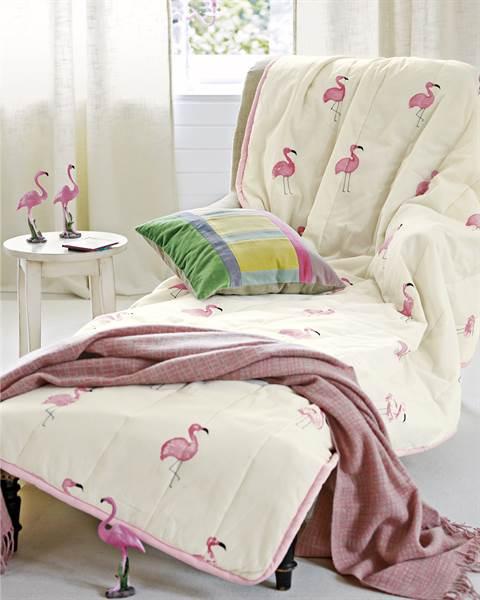 Tagesdecke, creme, pink, weiche Baumwolle