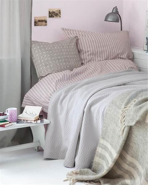 Streifenbettwäsche rosa-grau