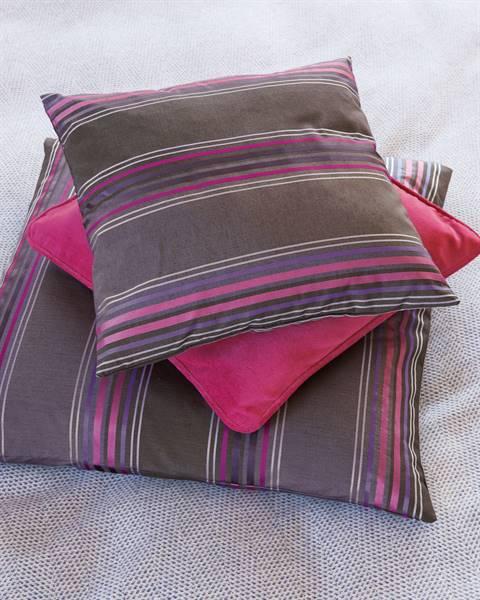 Streifenkissenhülle lila-braun-pink, Baumwolle-Mix