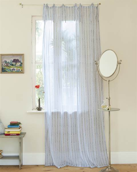 Vorhang, PES, Baumwolle, blau, grau