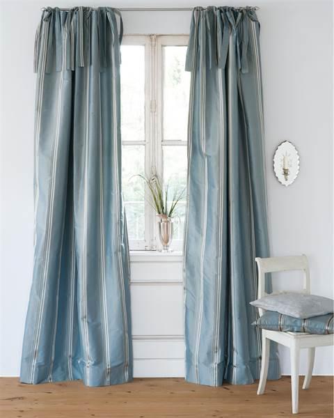 Streifenvorhang pastellblau, Faux Silk