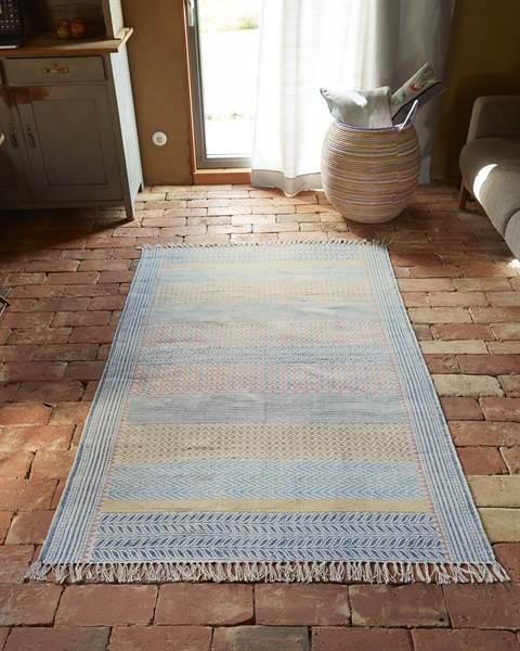 Teppich Ella, Handstempeldruck, Baumwolle