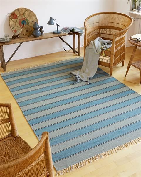 Streifenteppich Blau-Grau