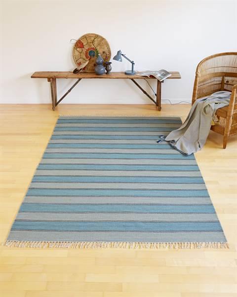 Streifenteppich Blau-Grau Detail