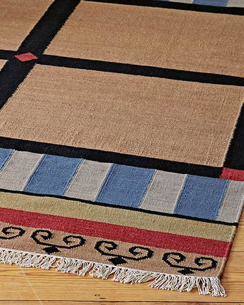 Teppich Tibet Wolle blau rot