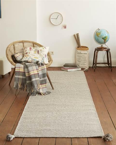 Teppichläufer beige, Wolle, Baumwolle
