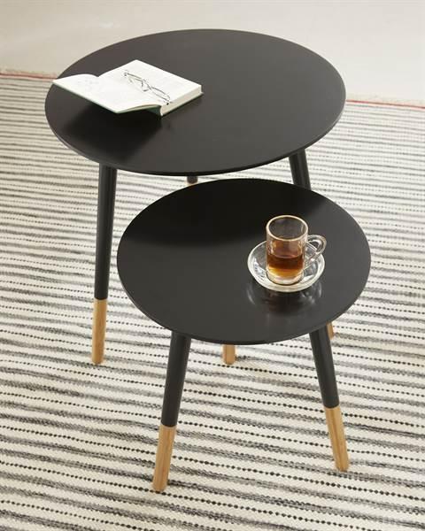 Tisch, Set, schwarz, MDF, Bambus, Holz