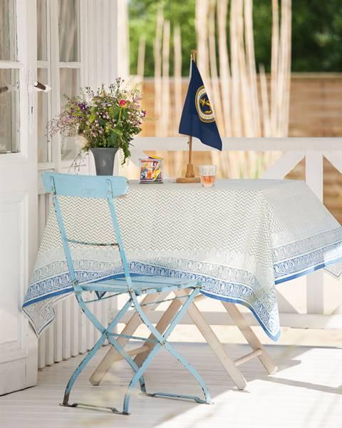 Tischdecke Veranda - blauer Rand