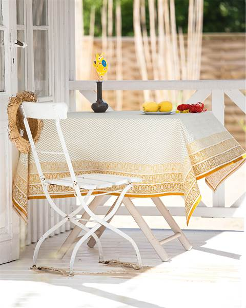 Tischdecke Veranda - gelber Rand