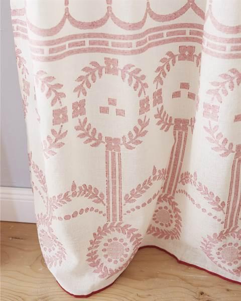 Vorhang, rot, ecru, Baumwolle